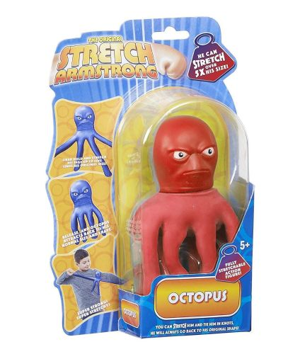 Mini Stretch Armstrong  - Red OCTOPUS  - Super Stretchy Fun - NEW